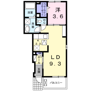 1LDK Apartment in Yaguchi - Ota-ku Floorplan