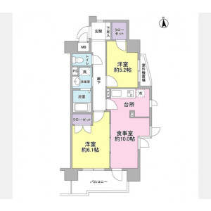 2LDK Mansion in Kamikitazawa - Setagaya-ku Floorplan