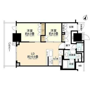 2LDK Mansion in Kitasaiwai - Yokohama-shi Nishi-ku Floorplan