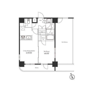 1LDK Mansion in Dogenzaka - Shibuya-ku Floorplan
