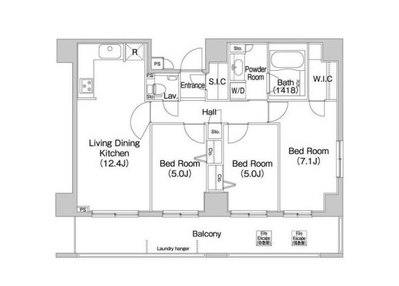 3SLDK Apartment to Rent in Minato-ku Floorplan
