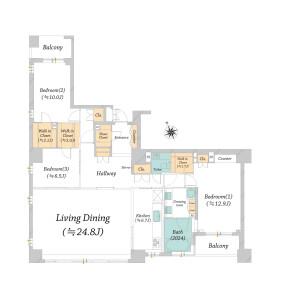 3LDK Apartment in Yombancho - Chiyoda-ku Floorplan