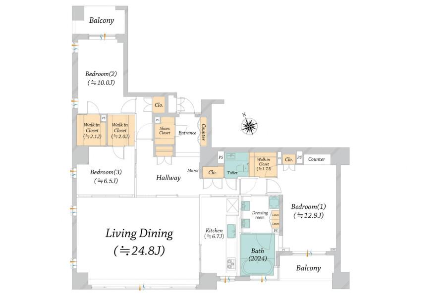 3LDK Apartment to Buy in Chiyoda-ku Floorplan