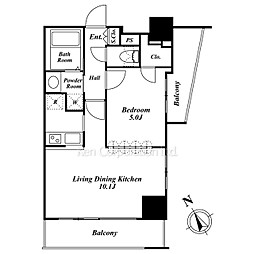 1LDK Mansion in Sendagaya - Shibuya-ku Floorplan