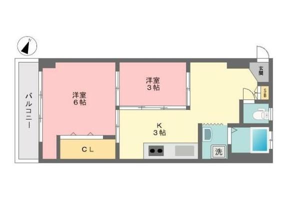 2DK Apartment to Buy in Shinjuku-ku Floorplan