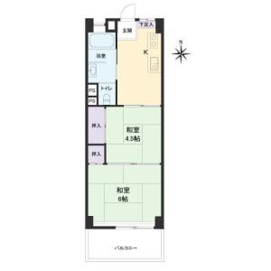2K Apartment in Numabukuro - Nakano-ku Floorplan