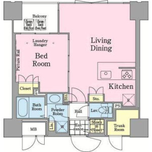 1LDK Mansion in Higashikanda - Chiyoda-ku Floorplan