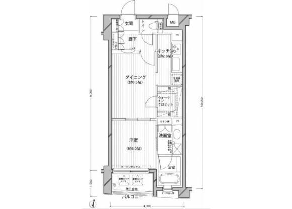 在目黒区内租赁1DK 公寓大厦 的 楼层布局