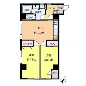 2LDK {building type} in Yayoicho - Yokohama-shi Naka-ku Floorplan