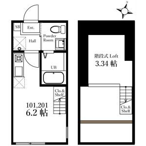横浜市西区浅間台-1R公寓 楼层布局