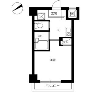 中央區築地-1K公寓大廈 房間格局