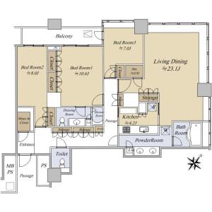 3LDK {building type} in Kachidoki - Chuo-ku Floorplan