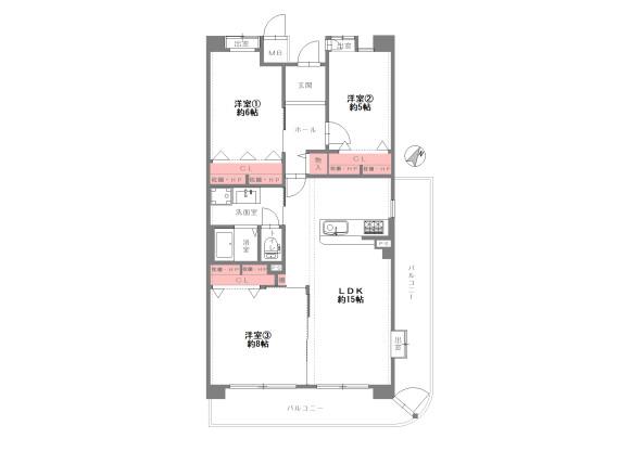 3LDK Apartment to Buy in Hirakata-shi Floorplan