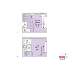 1LDK Mansion in Tomigaya - Shibuya-ku Floorplan