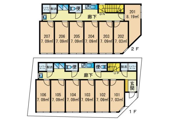 Shared Guesthouse to Rent in Ota-ku Floorplan