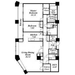 目黒區上目黒-2SLDK公寓大廈 房間格局