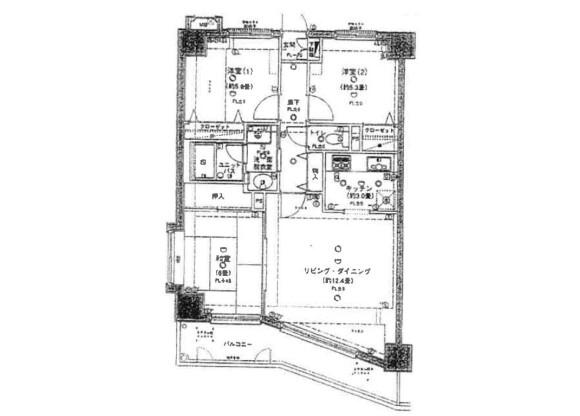3LDK Apartment to Rent in Chiba-shi Chuo-ku Floorplan