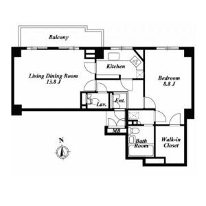 1LDK Apartment in Komaba - Meguro-ku Floorplan