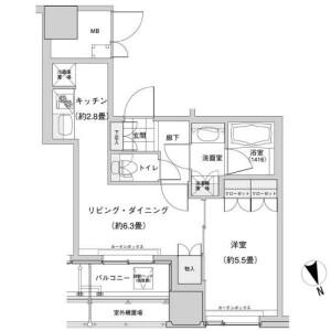 豊島區西池袋-1LDK公寓大廈 房間格局