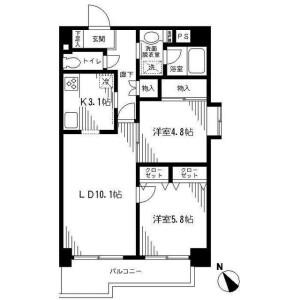 港区南麻布-2LDK公寓大厦 楼层布局