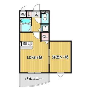 1LDK Mansion in Minamikuzuha - Hirakata-shi Floorplan