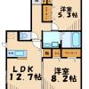 在横浜市青葉区内租赁2LDK 公寓大厦 的 楼层布局