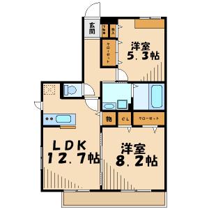 横濱市青葉區桜台-2LDK公寓大廈 房間格局