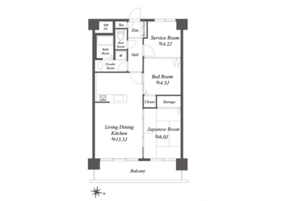 2SLDK Apartment to Rent in Ota-ku Floorplan
