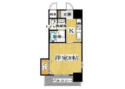 在大阪市天王寺区内租赁1K 公寓大厦 的 楼层布局