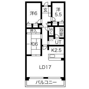 3LDK Mansion in Nishikammuri - Takatsuki-shi Floorplan