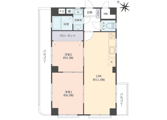 2LDK Apartment to Buy in Kobe-shi Higashinada-ku Floorplan