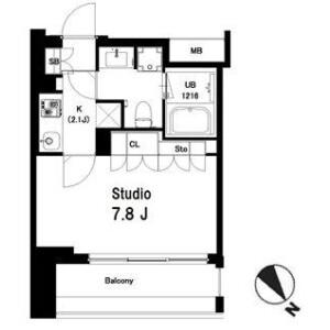 1K Mansion in Higashiyama - Meguro-ku Floorplan