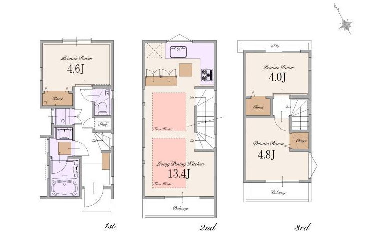3LDK House to Buy in Shinjuku-ku Floorplan