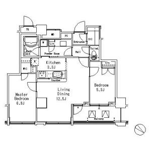 目黒区目黒-2LDK公寓大厦 楼层布局