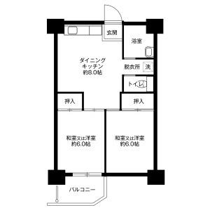 2DK Mansion in Momoyamadai - Sakai-shi Minami-ku Floorplan