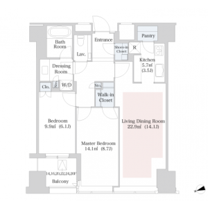 2LDK Apartment in Nishishinjuku - Shinjuku-ku Floorplan