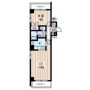 1LDK Mansion in Ojima - Koto-ku Floorplan