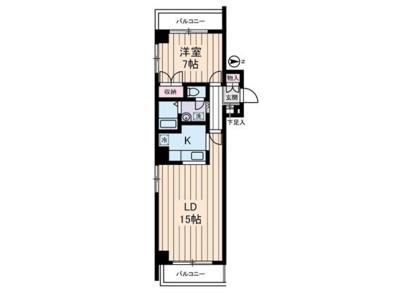 1LDK Apartment to Rent in Koto-ku Floorplan