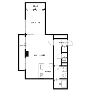 1LDK Mansion in Esakacho - Suita-shi Floorplan