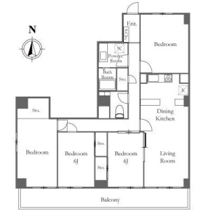 4LDK Mansion in Hiroo - Shibuya-ku Floorplan