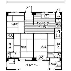 3DK Mansion in Koganehara - Matsudo-shi Floorplan