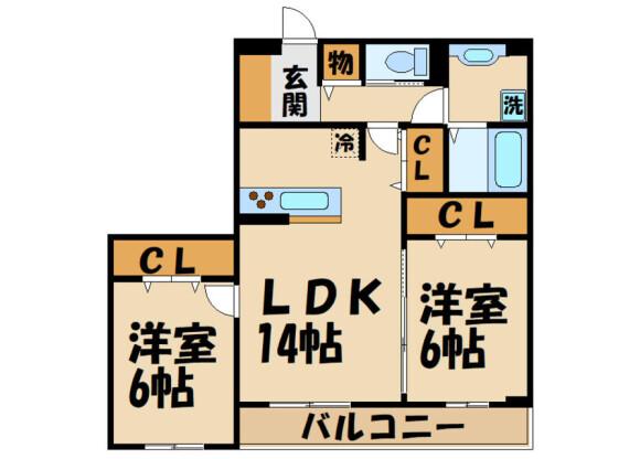 2LDK Apartment to Rent in Chofu-shi Floorplan