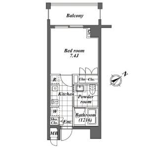 1R Mansion in Ebisuminami - Shibuya-ku Floorplan