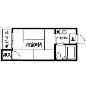 1R Apartment in Hiranonishi - Osaka-shi Hirano-ku Floorplan
