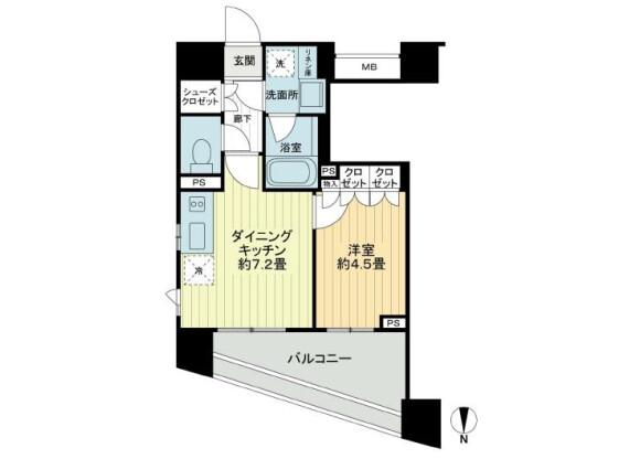 1DK 맨션 to Rent in Shibuya-ku Floorplan