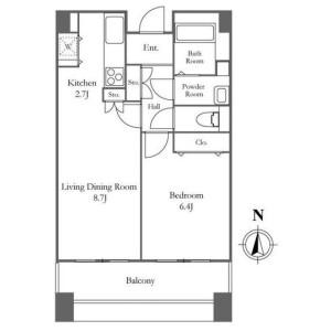 1LDK Mansion in Tsukuda - Chuo-ku Floorplan