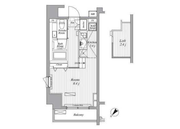 1K Apartment to Rent in Minato-ku Floorplan