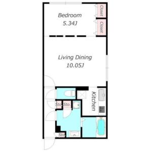 目黒区中央町-1LDK公寓大厦 楼层布局