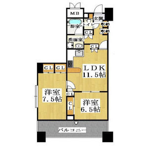 2LDK Mansion in Shimanochi - Osaka-shi Chuo-ku Floorplan