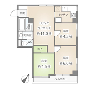 3DK {building type} in Uenosakuragi - Taito-ku Floorplan